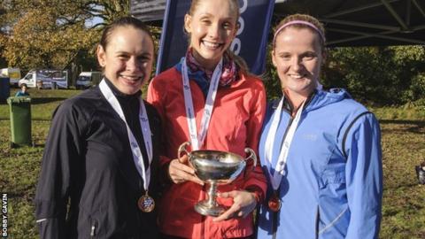 Edinburgh's winning women's team: Freya Ross, Maddie Murray and Rachael Dunn