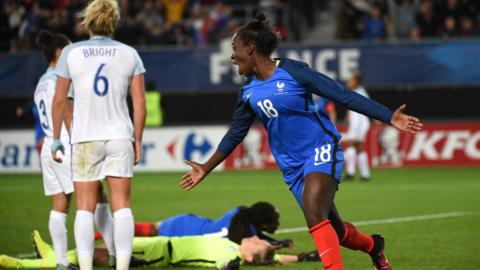 Viviane Asseyi scores the winning goal for France against England