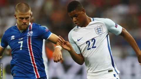 Marcus Rashford (right) on England duty