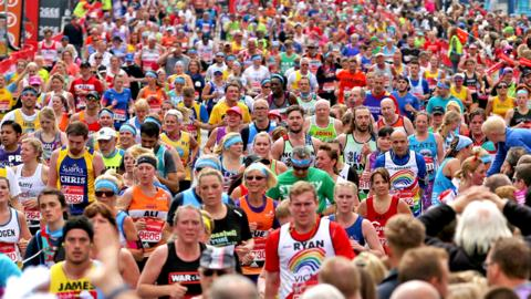 Runners in the 37th London Marathon
