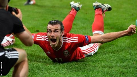Gareth Bale celebrates Wales beating Belgium