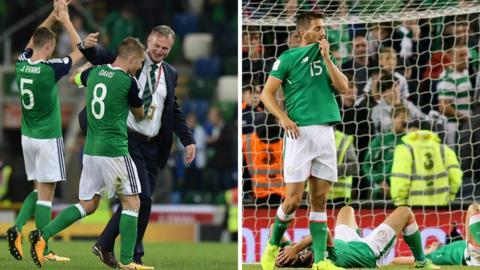 Northern Ireland players celebrate, Republic of Ireland players commiserate after recent games