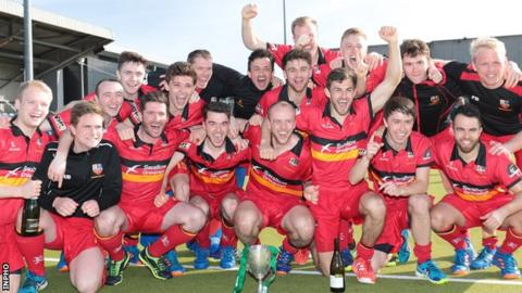 Banbridge celebrate their Irish Cup success at Belfield on Sunday