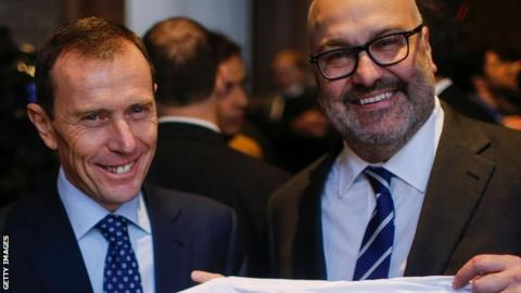 Real Madrid director Emilio Butragueno (l) and chairman of Relevent Sports Charlie Stillitano