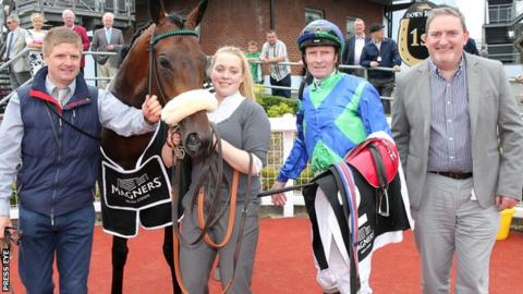 Stellar Mass and jockey Kevin Manning won the 2016 Ulster Derby