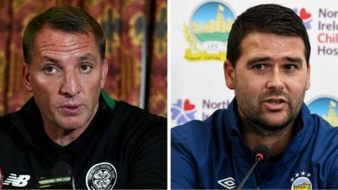 Celtic manager Brendan Rodgers and Linfield counterpart David Healy