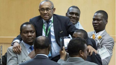 Ahmad is lifted up after winning the Caf presidential election