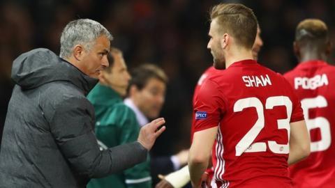Manchester United's Jose Mourinho and Luke Shaw