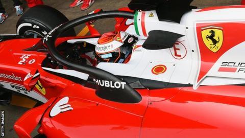 Ferrari driven by Kimi Raikkonen fitted with the halo device