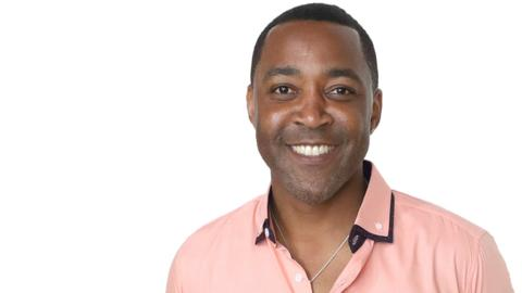 Olympic gold medallist Darren Campbell picture for Radio 5 live Get Inspired show