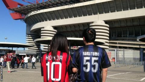 Fans outside the San Siro in Miolan