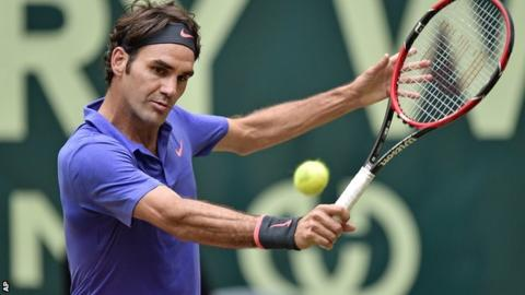 Roger Federer in action in the Gerry Weber Open in Halle