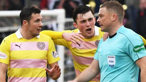 Hearts' Don Cowie and John Souttar complain about Raith Rovers' goal
