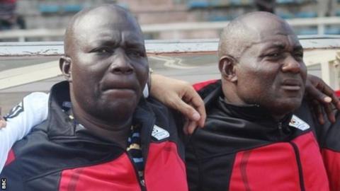 Ugandan coaches Moses Basena (left) and Fred Kajoba