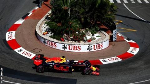 Daniel Ricciardo driving his Red Bull at Monaco