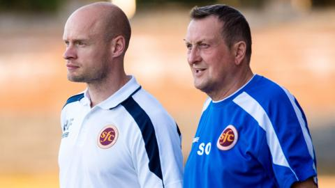 Stenhousemuir manager Brown Ferguson (left)