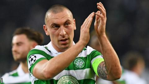 Scott Brown celebrates Celtic's point against Borussia Monchengladbach