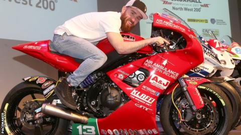 Lee Johnston sits aboard the Kawasaki machine at Wednesday night's NW 200 launch in Coleraine
