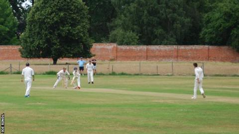 Harrison Jones bowls to Kearan Gibbs