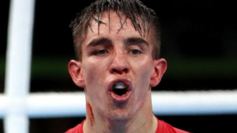 Michael Conlan makes clear his displeasure after his controversial defeat