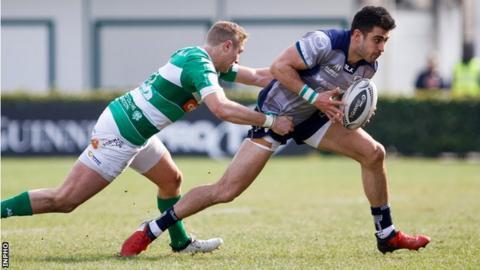 Andrea Buondonno of Treviso tackles Connacht's Tiernan O'Halloran