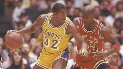 Magic Johnson playing for the Lakers