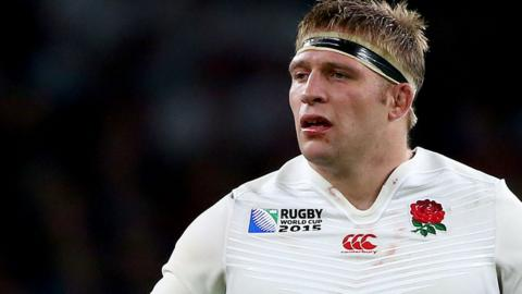Tom Youngs playing for England at 2015 World Cup
