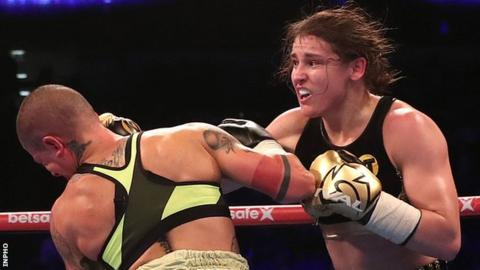 Katie Taylor lands a right on Italy's Monica Gentili at The 02 in London on Saturday night