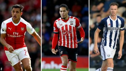 Alexis Sanchez, Virgil van Dijk and Jonny Evans