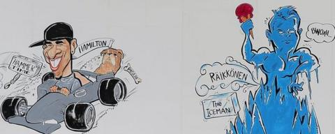 Caricatures of Lewis Hamilton and Kimi Raikkonen