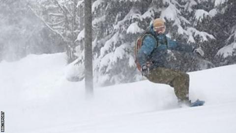 Professional freeride snowboarder Sascha Hamm