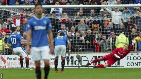 Rangers' Graham Dorrans fires a penalty past Motherwell's Trevor Carson