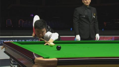 Ding Junhui about to pot the black on his 147 break in the quarter-final at the Welsh Open