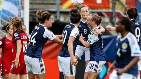 Scotland celebrate their goal from Erin Cuthbert (centre) against Spain