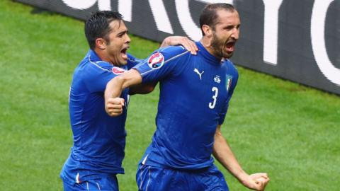 Giorgio Chiellini gives Italy lead against Spain