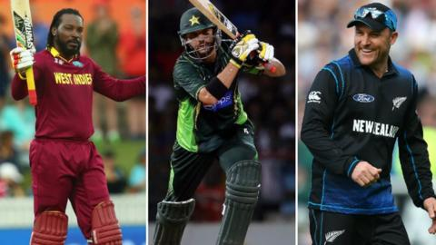 Chris Gayle (left), Shahid Afridi (middle), Brendon McCullum (right)