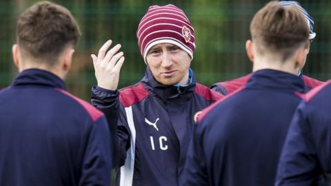 Hearts head coach Ian Cathro takes training on Thursday