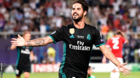 Real Madrid scorer Isco celebrates against Manchester United
