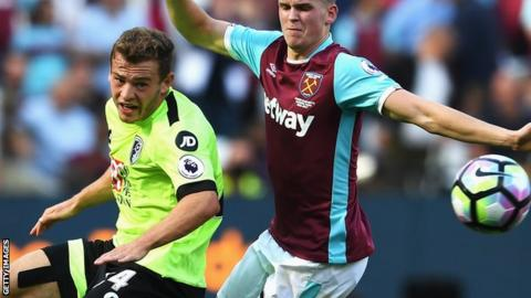 Bournemouth winger Ryan Fraser in action against West Ham