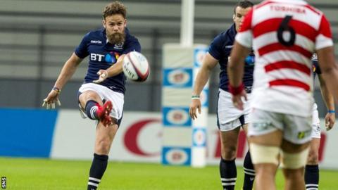 Ruaridh Jackson in action for Scotland against Japan