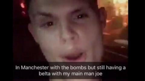 'In Manchester with the bombs but still having a belta with my main man joe'