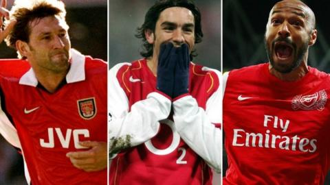 Tony Adams, Robert Pires and Thierry Henry.
