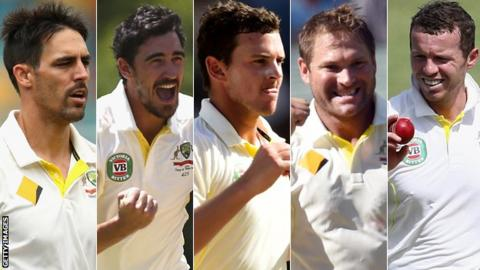 Mitchell Johnson, Mitchell Starc, Josh Hazlewood, Ryan Harris & Peter Siddle