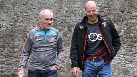 Tyrone manager Mickey Harte and Down boss Eamonn Burns will be in opposing dugouts in Sunday's Ulster SFC final