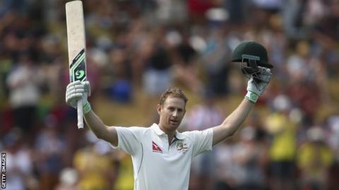 Adam Voges celebrates a double century against New Zealand