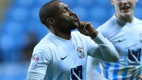 Kyel Reid celebrates his goal for Coventry against Port Vale