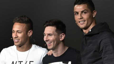 Neymar, Messi and Ronaldo