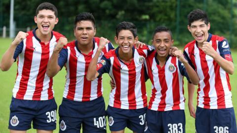 Chivas Guadalajara players Sebastian Martinez, Idelfonso Manzanares, Ayax Zambrano, Alejandro Sanchez and Zahid Munoz
