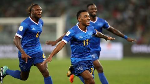 Cape Verde's Garry Rodrigues celebrates scoring