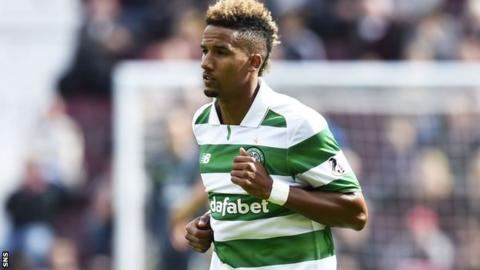 Scott Sinclair in action for Celtic on his debut against Hearts